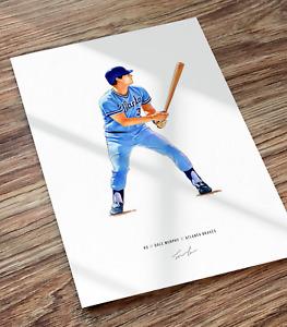 Dale Murphy Atlanta Braves Baseball Illustrated Print Poster Art