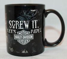 Harley Davidson Motor Cycles Screw It. Let's Ride! Black Logo Coffee Tea Mug Cup