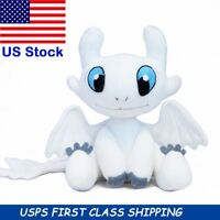 How To Train Your Dragon 3 Light Fury Plush Figure Toy White Dragon Stuffed Doll
