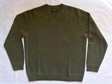 Mens Black Brown 1826 LUX Dark Green Ribbed 100% CASHMERE Crewneck Sweater L EUC