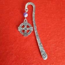 Celtic Cross Bookmark  With A Purple Agate Bead