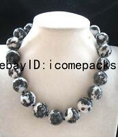 "BIgger! zebra agate stone round black white 20mm necklace 17.8"" nature beads"
