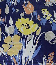 CohamaTamiami 3 Yards Mod Tulip Flower Fabric Blue Floral Vtg Upholstery Bold