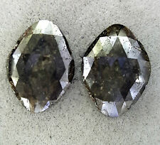 Big Loose Diamond Pair ! Antique Diamond Shape Rose cut Gray color 14.06TCW