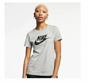NIKE cotton women's t-shirt tee -Dark Heather Grey - LARGE