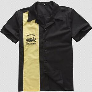 Men Rockabilly Black Bowling Shirts 50s Motorbike Embroidery Button