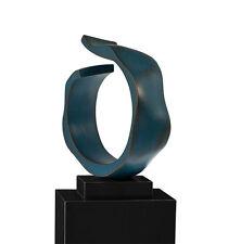 """Abstrait Sculpture """"Ouvert Ring"""" sur le marbre Socle Ancien Cuivre . H 56 cm"""