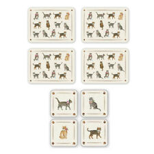 Cooksmart New Cats on Parade Placemats and Coasters Fun Animals Pets Table Mats