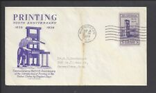 US First Day Cover FDC - #857 - 3¢ Printing Tercentenary - 1939 - Grimsland