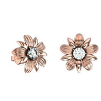 Pure Solid 14K Rose Gold Real Round HI/I 0.16 Ct Natural Diamond Stud Earrings