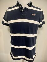 Hollister Mens Cotton Short Sleeve Blue Striped Polo Shirt Size L