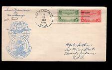 San Francisco Hong Kong 1937 Transpacific Issues 1st Flight Cover 9r
