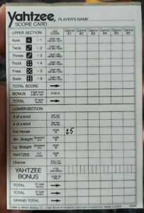 Vintage Yahtzee Challenge or other Score Pad Original Replacement  Sheets 1984