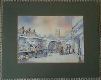 Market Stalls by Mavis Nuttall Watercolour Painting