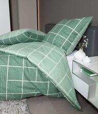 Janine Davos Biber Bettwäsche 135x200 Karo Wende grün jade  65087-06