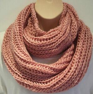 Superb Chunky Knit Pink Circle Loop Infinity Scarf Snood - Christmas Gift