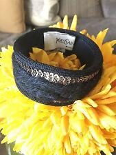 YSL Yves Saint Laurent Fabric Wool Knit Sequin Bangle Bracelet Cuff Boho Bangle