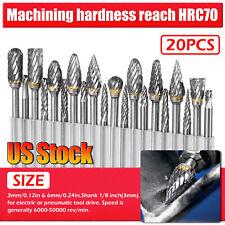 20Pcs Head Tungsten Carbide Steel Rotary Burr Die Grinder Bit Shank Carving Set