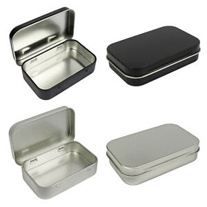 Metal Rectangular Empty Hinged Tins Box Containers 3.75 x 2.45 x 0.8 Inch Silver