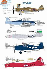 Wolfpak decals 72-107 Thunderbolt B-17 Forteresse Hellcat Douglas Invader Bomber