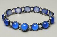 Vintage Silber Armband 925 Sterling Silber 20er-40er Jahre blaue Glassteine/A615