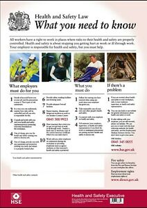 HSE health and safety UK A3 poster