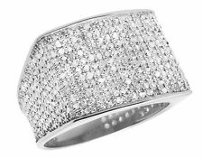 10K White Gold Men's Pave Eternity Genuine Diamond Pinky Ring Band 1.35 Ct Sz-7