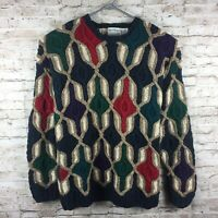 Vintage BACHRACH Mens XL Multicolor Coogi Style Cosby 90s Knit Sweater