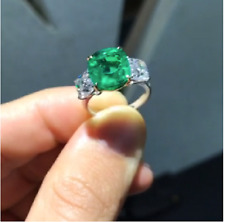 4Ct Cushion Cut Green Emerald Three-Stone Engagement Ring 14K White Gold Finish