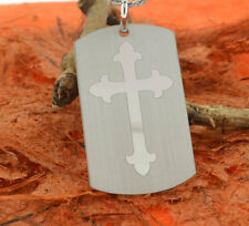 Cross Dog Tag Necklace-.925 Sterling Silver- Men's Jewelry,Engraved,Cross,Laser