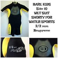 BARE (Brand) 2/2mm Shorty Wetsuit Plazma Power Stretch YOUTH Size 8 WATER SPORTS