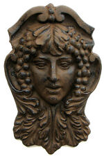 Large Woman Goddess Face Plaque Cast Iron Wall Hanging Old World Garden Decor