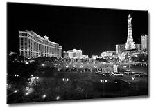 Leinwand Bild Schwarzweiß Las Vegas USA Bellagio Nachts