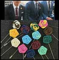 NEW Men's Corsage Boutonniere Brooch Lapel Pin Silk Mini Rose Flower Wedding