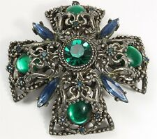 Vintage SELINI Blue Green Crystal Rhinestone Cluster Maltese Cross Brooch Pin