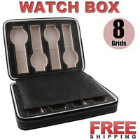 Portable 8 Grids Travel Watch Box PU Leather Zipper Storage Case Organizer