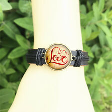 Valentines Romantic  men's Bangle 20 mm Glass Cabochon Leather  Charm Bracelet