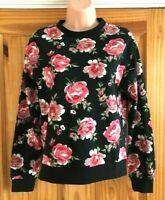 Ex High Street H&M Black Rose Floral Print Sweatshirt Top Sizes XXS-XL *NEW*