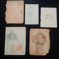 Lot étude mode années 20-30 silhouettes homme femme dessins signés pastel fusain