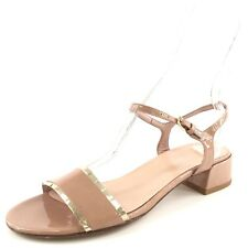 Stuart Weitzman Nearlynude Leather Ankle Strap Block Sandals Women's Size 8.5 M*