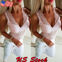 Fashion Women Lace Summer Vest Sleeveless Shirt Blouse Casual Tank Top T-Shirt