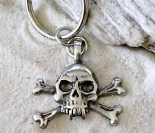 GOTHIC BIKER SKULL CROSS BONES Pewter KEYCHAIN Key Ring