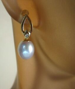Lovely Pair of Solid 14KT Gold Diamond Accent Cultured Akoya Pearl Earrings