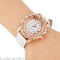 KUS Weiß Damen Lederarmbanduhr Armbanduhr Quarzuhr Strass Schmuck Watch Geschenk