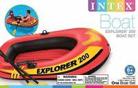 Intex Explorer 200, 2-Person Inflatable Boat Set w/ French Oars & Mini Air Pump