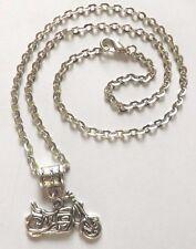 collier chaine argenté 46 cm avec pendentif moto