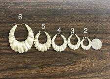 Women's, Kid's 10K Yellow Gold Diamond Cut Scalloped Hoop - Oval Shrimp Earrings