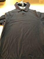 Men Adidas ClimaCool Navy Blue Athletic Short Sleeve Golf Polo Shirt Size Md