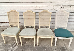 *Set of 4* Ethan Allen Classic French Country Manor Cane Back Dining Side Chairs