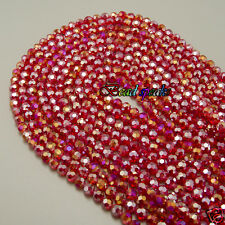 One Strand 6 mm AB Bright Red Faceted Round Glass Crystal Beads -CQ233